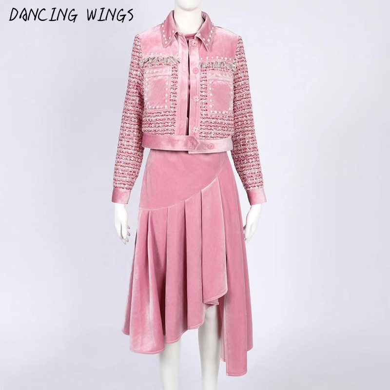 Runway Designer Womens Clothing Pink Woolen Tweed Jacket + Gold Velvet Off Shoulder Irregular Dress 2 Piece Set Women Suit