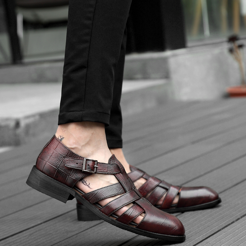 2018 new men's sandals summer fashion men shoes genuine leather - Men's Shoes - Photo 3