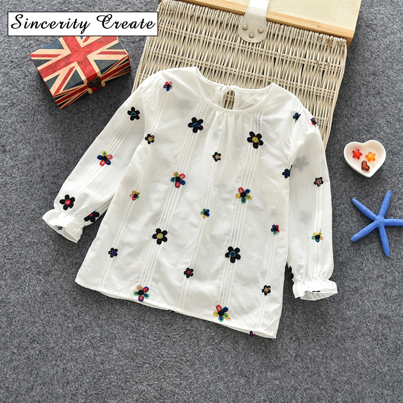 New arrival sweet style girls blouses Embroidery cozy collar kids shirts loose O-Neck children's garments spring&autumn KT-1814