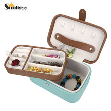 Sunligoo Velvet Jewelry Boxes Vintage 2 Layers Jewelry Box Multideck Storage Cases Ring Earrings Necklaces Makeup Holder Case(China)