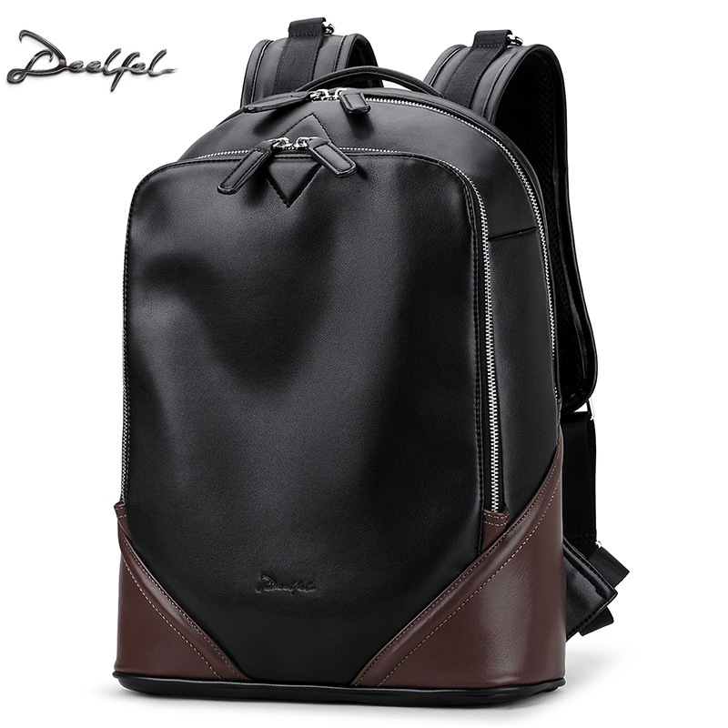 Leather Backpack Men Retro Laptop Bagpack High Quality Korean School Bags For Men Waterproof Male Travel
