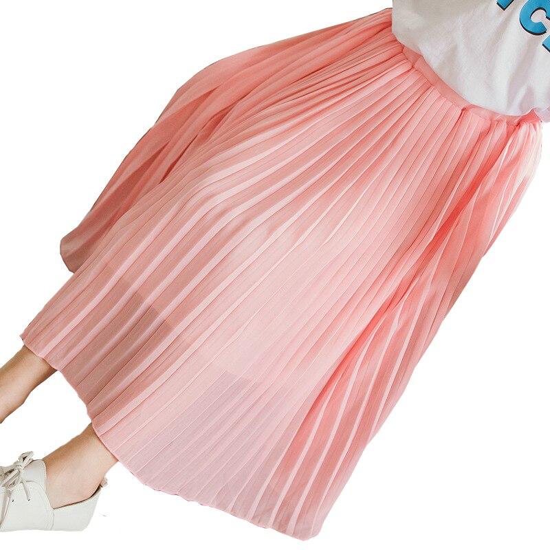 Summer 2019 Fashion Children Skirt Kids Chiffon Pleated Long Skirt Smooth Skirts Baby Teens Girls Maxi Beach Bohemian Skirts