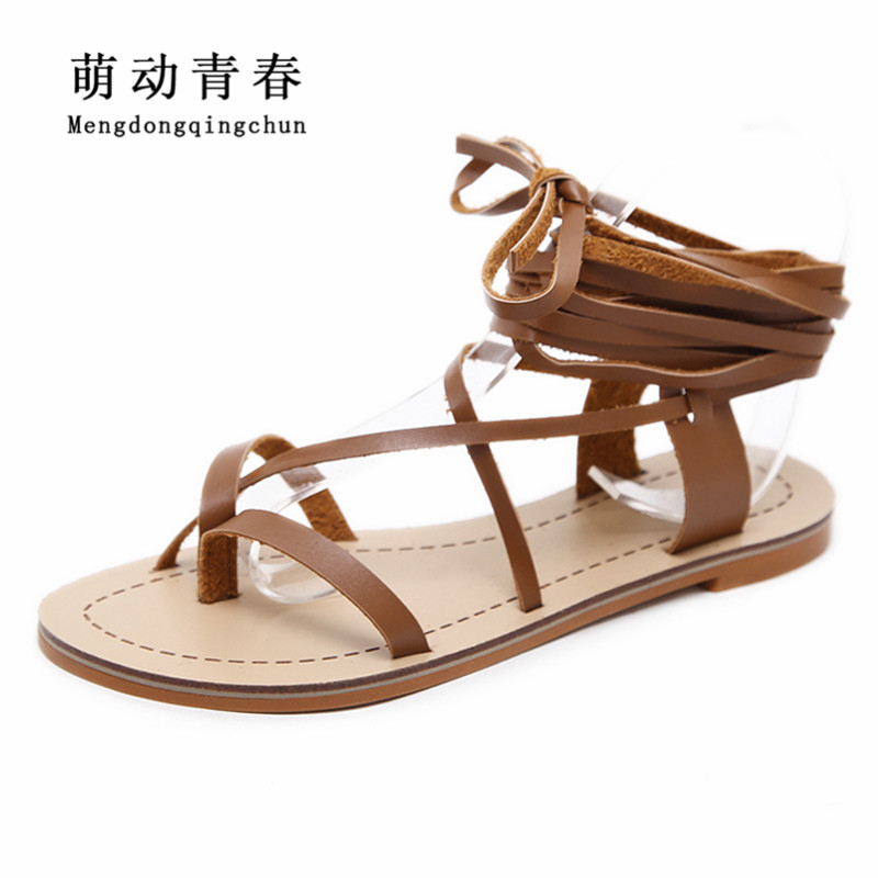 2018 New Women Sandals Gladiator Casual Lace Up Flat Sandals Fashion Women Cross Tie Ankle Strap Flat Heel Summer Sandals new women sandals low heel wedges summer casual single shoes woman sandal fashion soft sandals free shipping