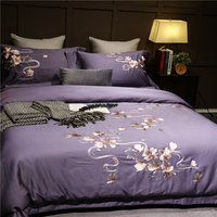 Egyptian Cotton Bedsheet set Quilt/Duvet cover Bed set Pillowcase Oriental Embroidery Luxury Bedding set Queen King size 4Pieces