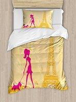 십대 룸 이불 커버 세트 핑크 실루엣을 소녀 개 Eiffels