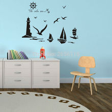 The Calm Sea DIY Wall Stickers Ocean Beacon Gulls Sailing Ships Vinyl Decals and Murals for Home Decor