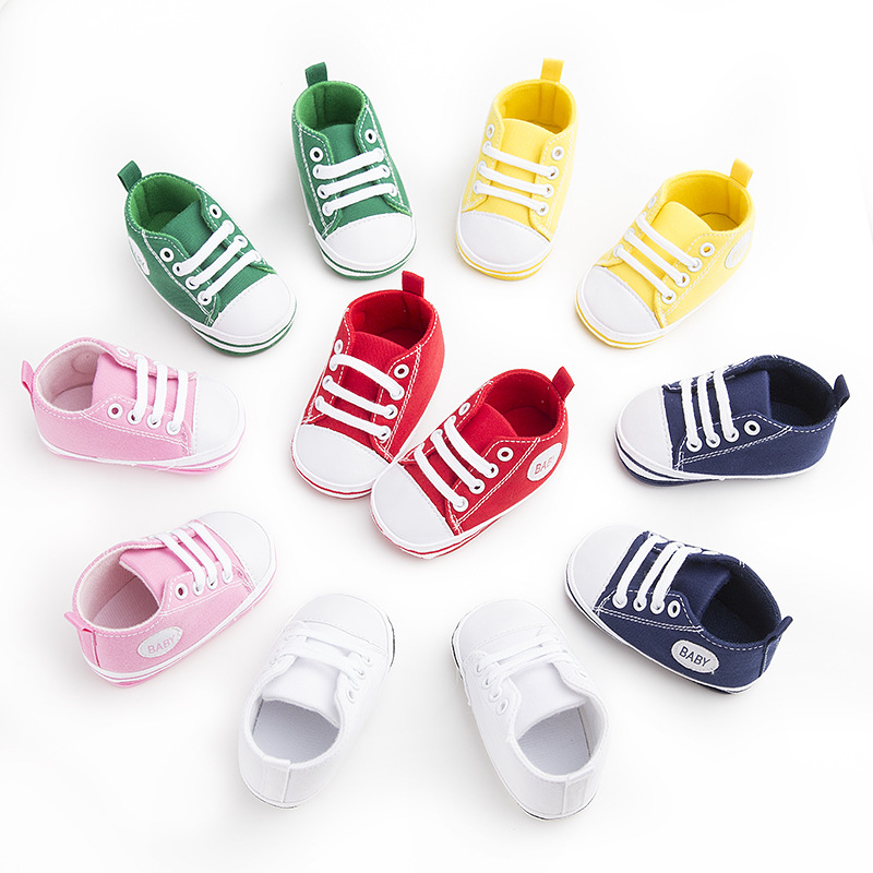 First Walker Newborn Baby Boys and Girls Infant Toddler Lace-Up Comfortable Canvas Prewalker Summer Soft Sole Anti-slip shoes