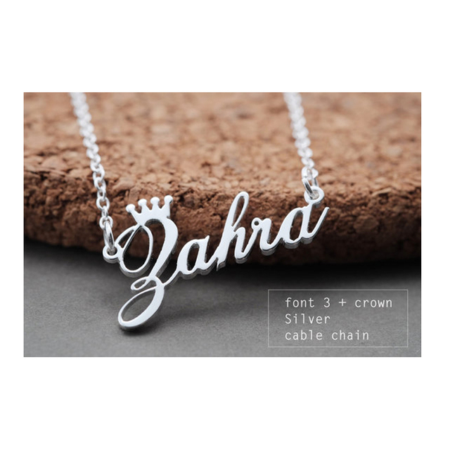GORGEOUS TALE Stainless Steel Rose Gold Color Any Cursive Crown Handmade Name Necklace Customized Name Necklace Birthday Gift