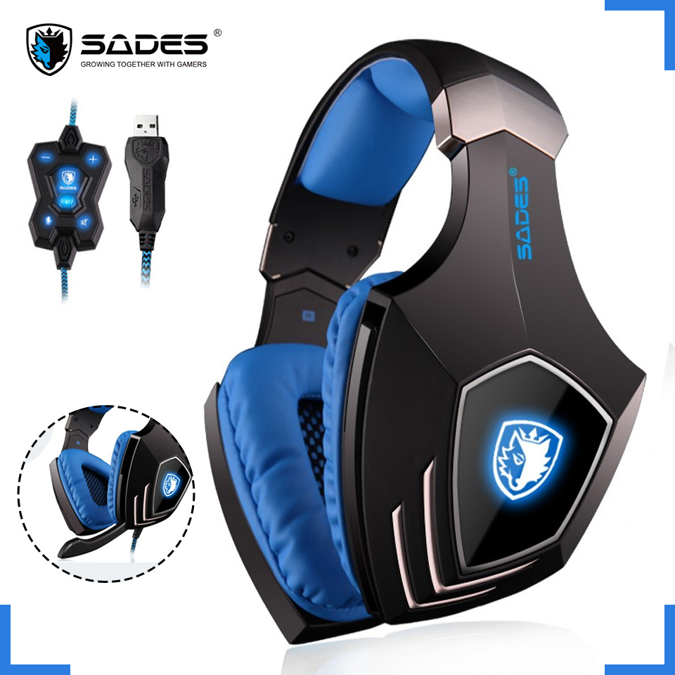 SADES A60 USB Virtual 7.1 PC Gaming Headset Wired Headphones Deep Bass Vibration Casque Earphones With Microphone For Gamer