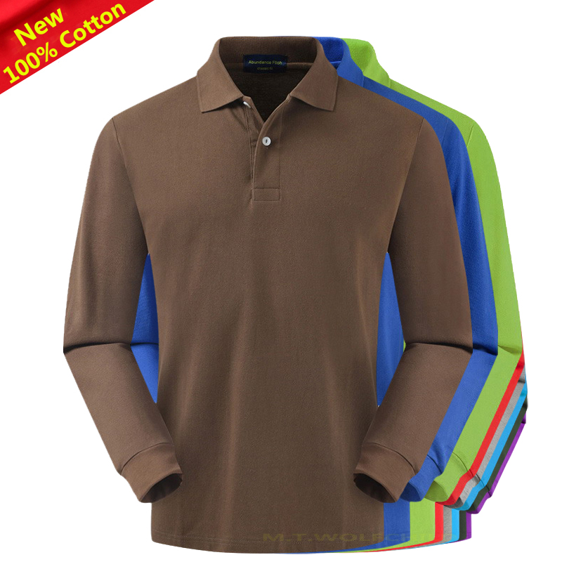 100% Cotton 2019 New Men's long sleeve   polos   shirts solid color casual mens turn-down collar tees XS-4XL fashion mens lapel tops