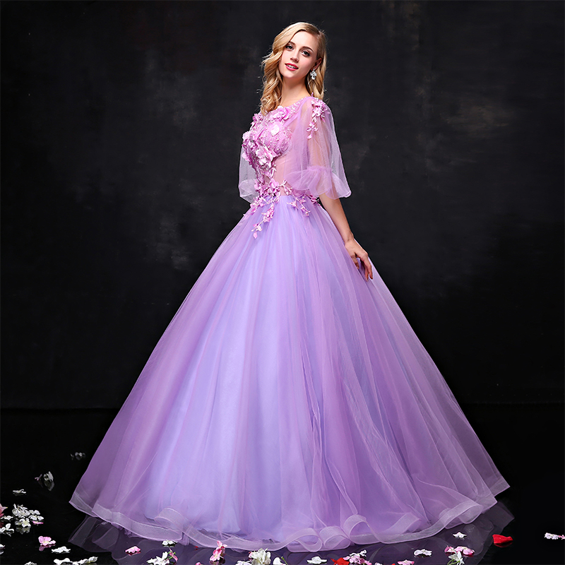 Empire Ball Gown Wedding Dresses: Empire Purple Prom Dress With Appliques Sex Elegant
