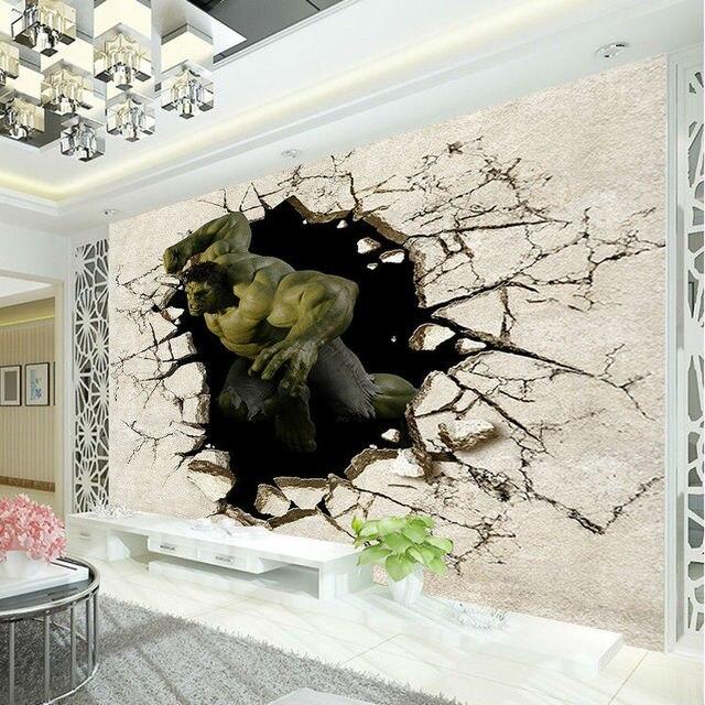 Avengers Garçons Chambre photo papier peint 3D Hulk Murale Papier ...