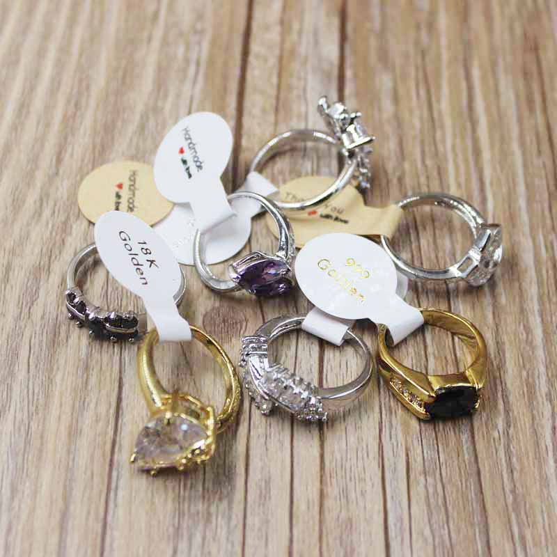 100PCS Multi Style  Gold /silver Foil Ring Labels DIy Handmade With Love Folded Ring Labels Vintage Kraft Thank You Ring Lables