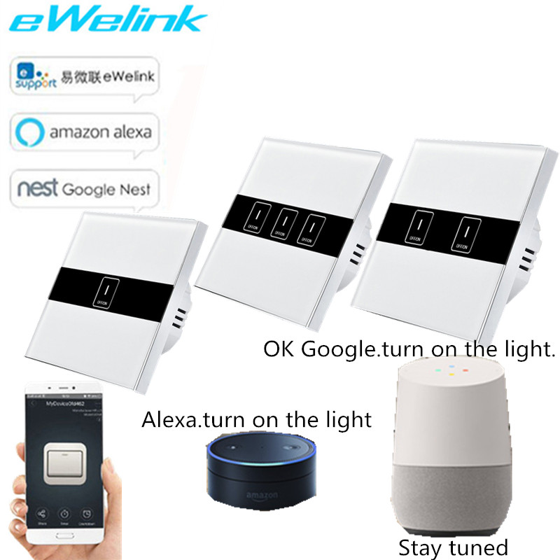 EU Standard Wifi Control Switch,eWelink APP wireless Control Touch Switch via Android and IOS for Smart Home wall light switch ewelink us type 2 gang wall light smart switch touch control panel wifi remote control via smart phone work with alexa ewelink