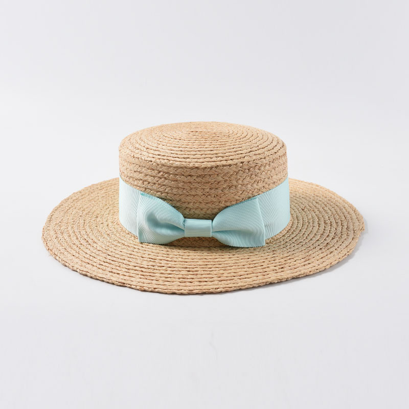 Image 3 - 2019 New Tea Party Hat Classic Bow Raffia Hats Women Girls Flat Sun Hat Chinese Straw Hat Summer Cap Dropshipping Wholesale-in Women's Sun Hats from Apparel Accessories