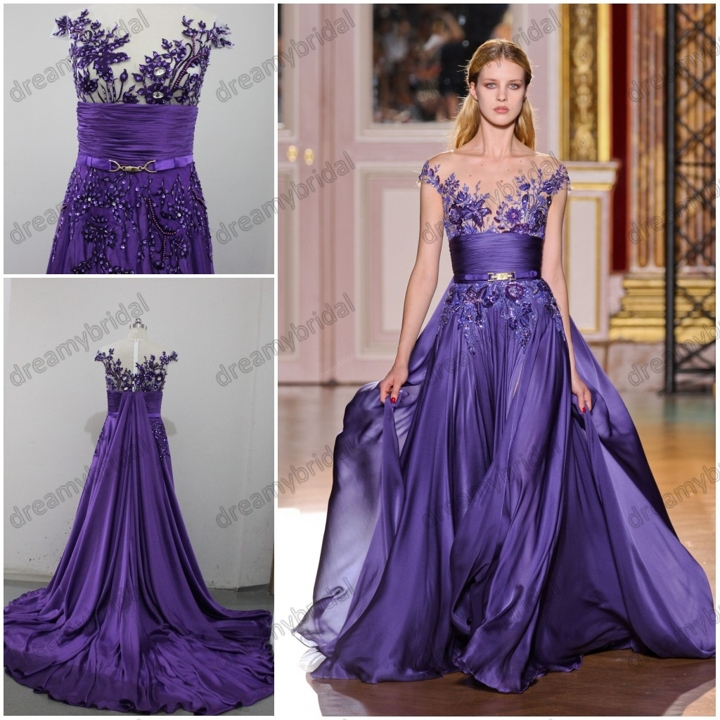 2017 New Arrival Real Samples Made Zuhair Murad Formal Evening Prom Dresses Purple Chiffom Best Quality Embroidery Free Shipping In From