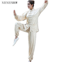 NEW 2015 Chinese Women Sportswear Silk Satin Tai Chi Martial Arts Suit Female Vintage Button Clothing