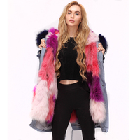 CNEGOVIK Real fur parka coat Dyed raccoon lined army parkas with raccoon fur hood Christmas theme with pink and multicolored
