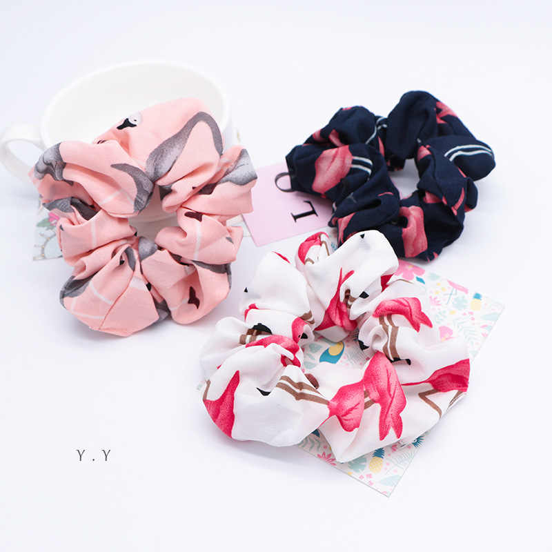 2019 Solid Flamingo Hair Scrunchies Houndstooth Fabric Hair Ties Floral Elastics Hairbands Ponytail Holder for Lady Accessories