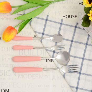Set de Cubiertos Cybil de acero inoxidable, tenedores, Cuchillos con mango de cerámica, Color azul, rosa, suministros de cocina, regalos para parejas
