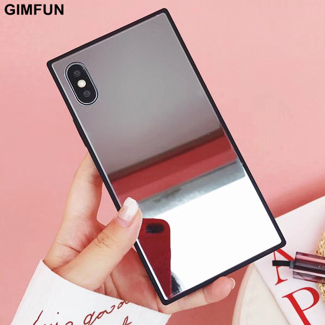 more photos 22901 6d09d US $3.22 25% OFF|Gimfun Luxury Square Mirror Glass Phone Case for IPhone 7  7plus 6 6s 8 Plus Case Hard Mirror Back Cover for IPhone X Female-in Fitted  ...