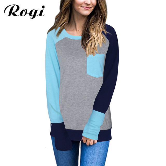 13246b7ca Rogi Baseball T-Shirt Women 2018 Fashion Block Pocket Female Raglan  T-Shirts Ladies Basic Tees Tops Vetement Femm Plus Size 3XL