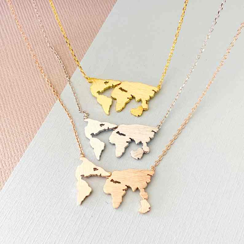 Stainless Steel World Map Pendants Necklaces For Women Nautical Jewelry collier femme 2019 Rose Gold Choker Friendship Gift bff