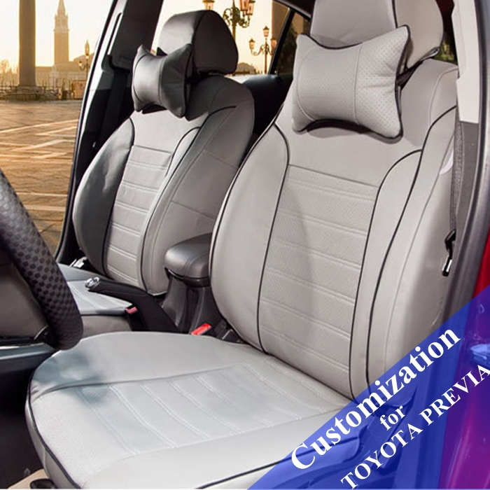 Customized Car Seat Covers For TOYOTA PREVIA Seats Cover Set PU Leather Cushion Supports Headrest Accessories In Automobiles