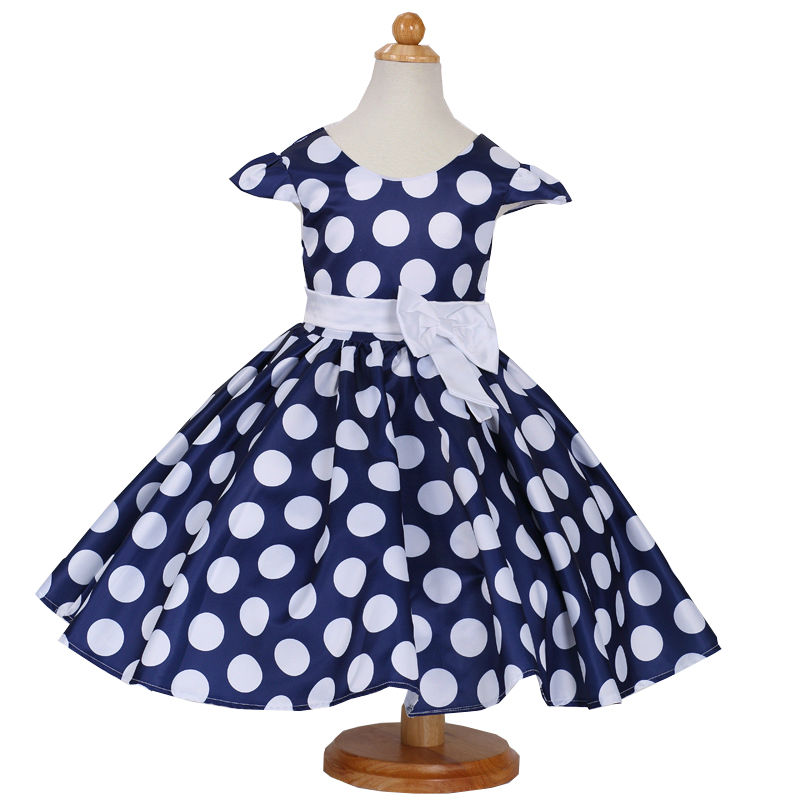 Summer Princess dress Fashion bow Girl Dress Dot Party dress  Kids Clothing  girl birthday gift baby girl clothes for 2-9T 2016 baby girl flutter sleeves summer birthday princess dress cotton frock designs teen kids clothing bulk clothes teenagers