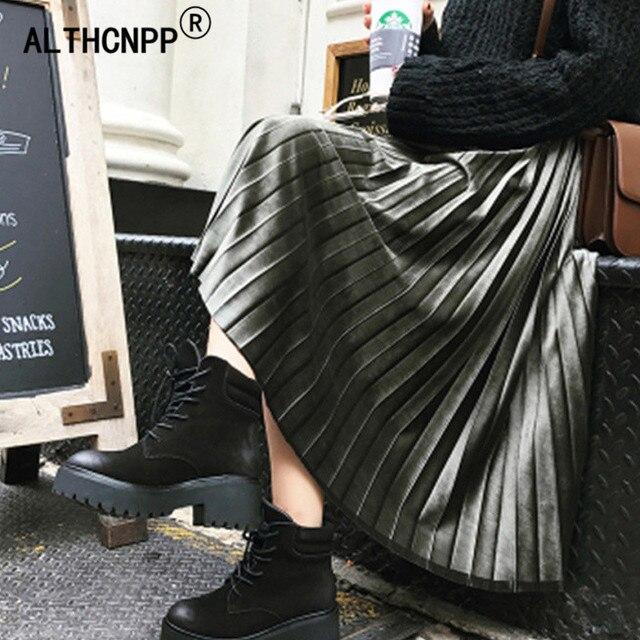 6fca3a4396e Faldas Mujer Moda 2018 Korean Solid Gold Velvet Pleated Skirt Elastic High  Waist Plus Size Harajuku Long Skirt Jupe Longue Femme