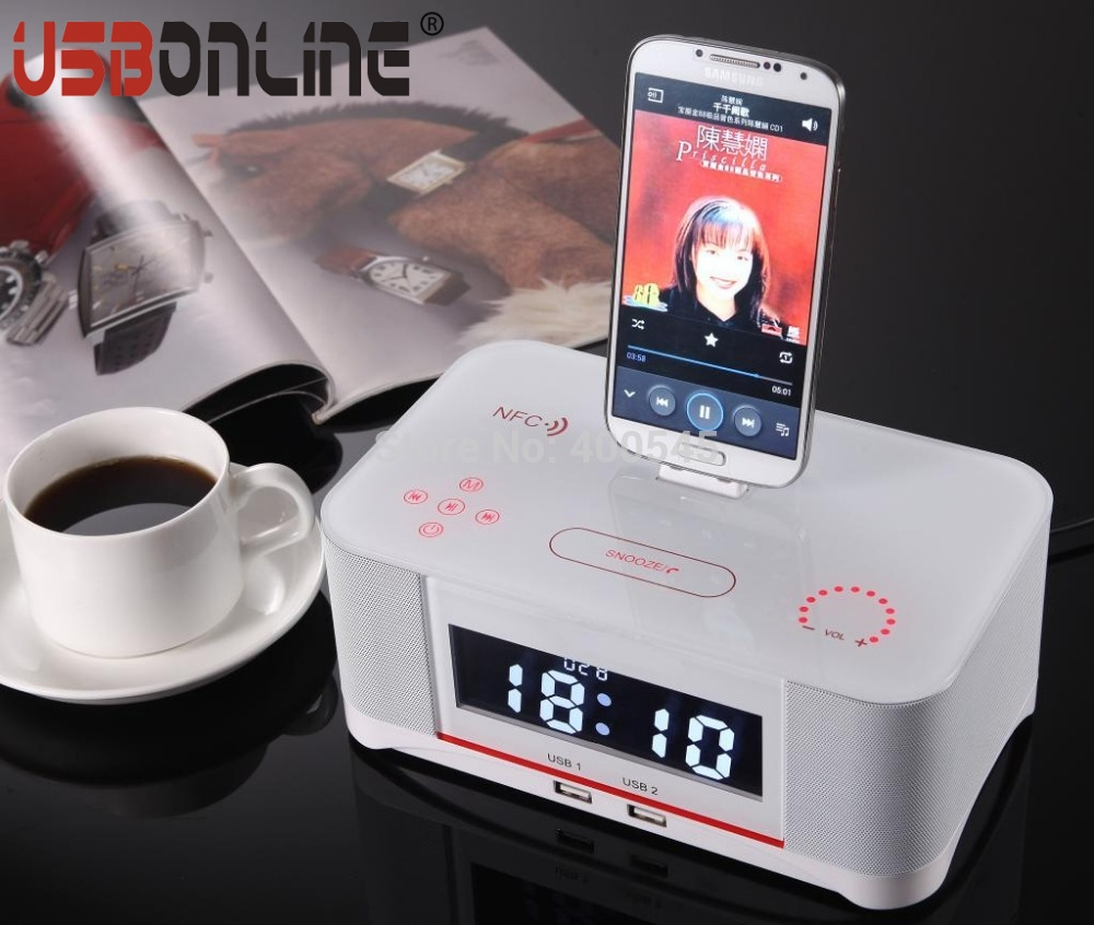 Phone Alarm Clock Dock For Android Phones popular android clock radio buy cheap lots nfc touch control wireless bluetooth docking speaker with handsfree fm alarm for android