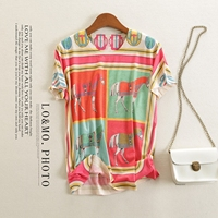 New color female half sleeve cotton t shirts show thin printed sweaters leisure horses round collar short sleeve