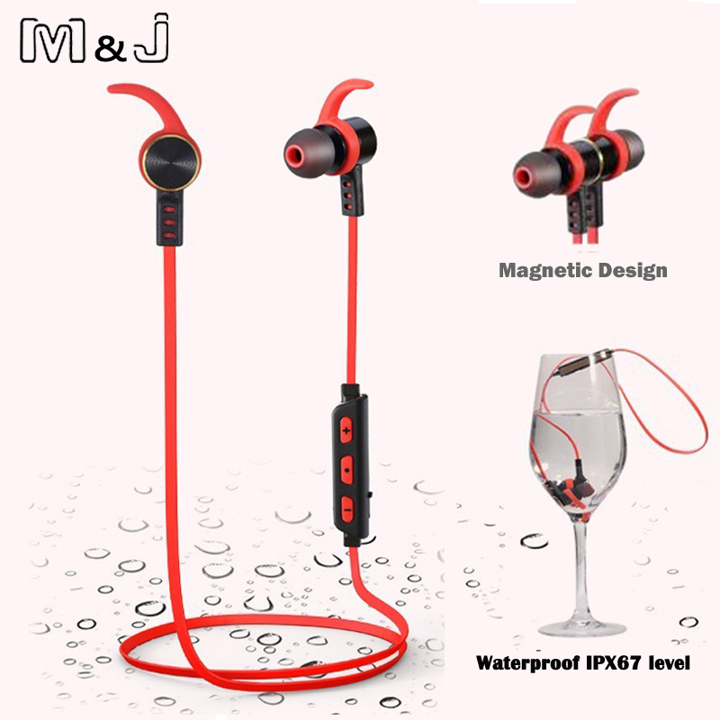M&J Hight Quality Waterproof Bluetooth Earphones Wireless Magnetic Magnet Stereo Sports Running In-Ear Earbuds With Microphone magnetic switch earphones sports running wireless earbuds bass bluetooth headsets in ear with mic for running fitness exercise