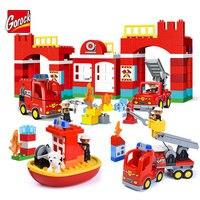 GOROCK Duży Rozmiar Miasta Station Building Block Miasta Ogień Ogień Dział Strażak Wóz Strażacki Model Kid Toy Kompatybilny Duplo Cegły