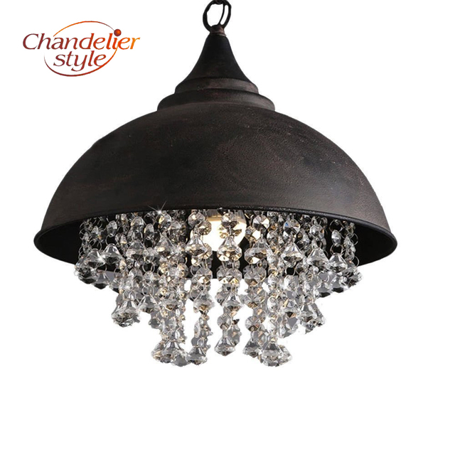 Industrial Wrought Iron Hanging Lamp Vintage Retro Crystal Pendant Light Edison Metal Hanging Lighting Fixture