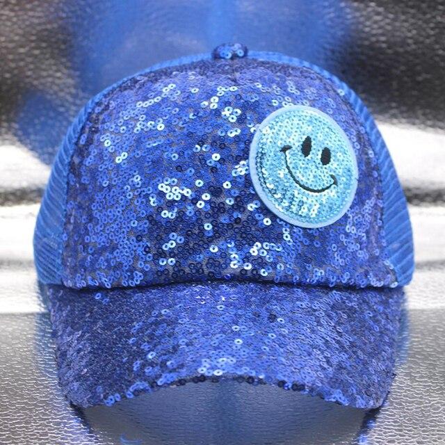 Summer Girls Boys Sequins Baseball Cap Children Hat Gold Shiny Breathable Net Cap Cartoon Smiley Snapback Sunshade Casual Hat