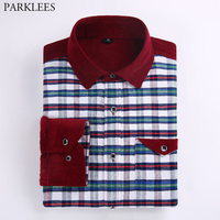 New Flannel Plaid Shirt Men Slim Fit Chemise Homme Casual Mens Long Sleeve Cotton Pocket Patchwork