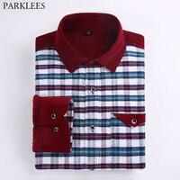 New Flannel Plaid Shirt Men Slim Fit Chemise Homme Casual Mens Long Sleeve Cotton Pocket Patchwork