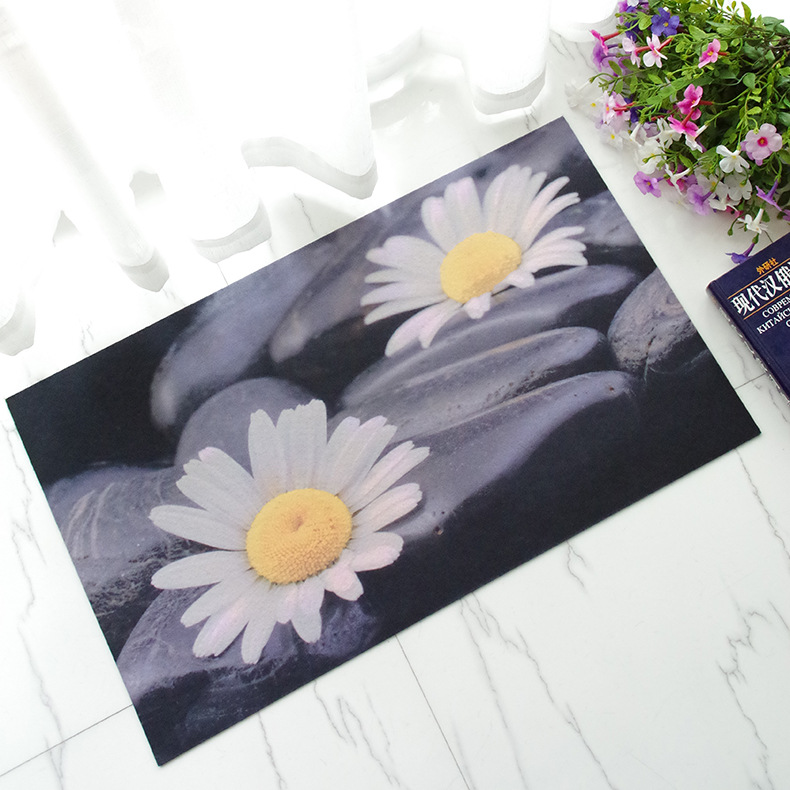 Free Shipping 1 pcs Embroidered printing Non-slip mats Big Door Bathroom Carpet Bedroom Door Soft High Quality Floor Mat BAHE011