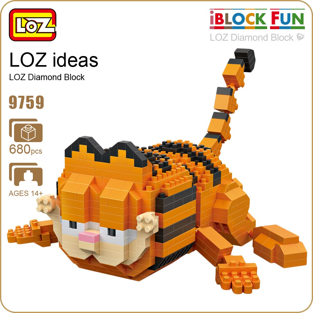 LOZ Blocks Diamond Exotic Cat Micro Building Blocks Figures Cartoon Mini Plastic Assembly Toys Small Blocks Cute Animal Toy 9759 12pcs set children kids toys gift mini figures toys little pet animal cat dog lps action figures