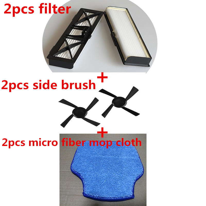 2 Hepa Filter Replace Part 945-0215 & 2 Side Brush & 2 Micro-fiber Mopping Cloth for Neato BotVac D Series D70, 70E, 75, 80, 85 5x hepa filter side brush for neato botvac 70e 750 80 85 robotic cleaner high quality