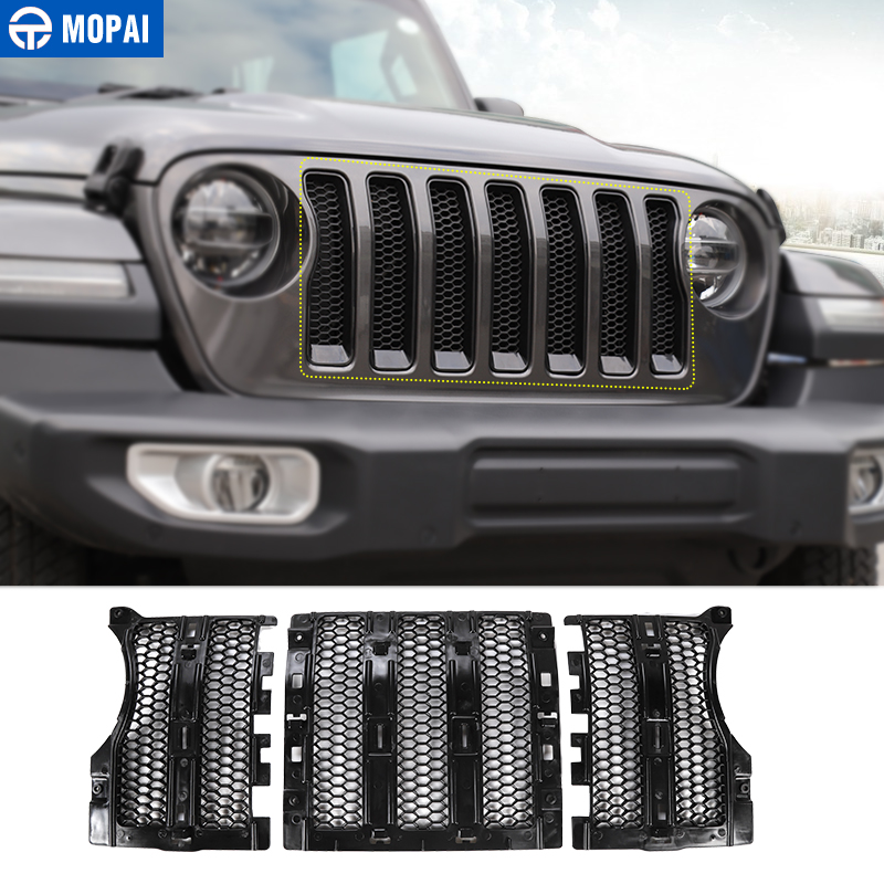 MOPAI Car Racing Grills for Jeep Wrangler JL 2018 Car Front Mesh Insert Grille Cover Honeycomb