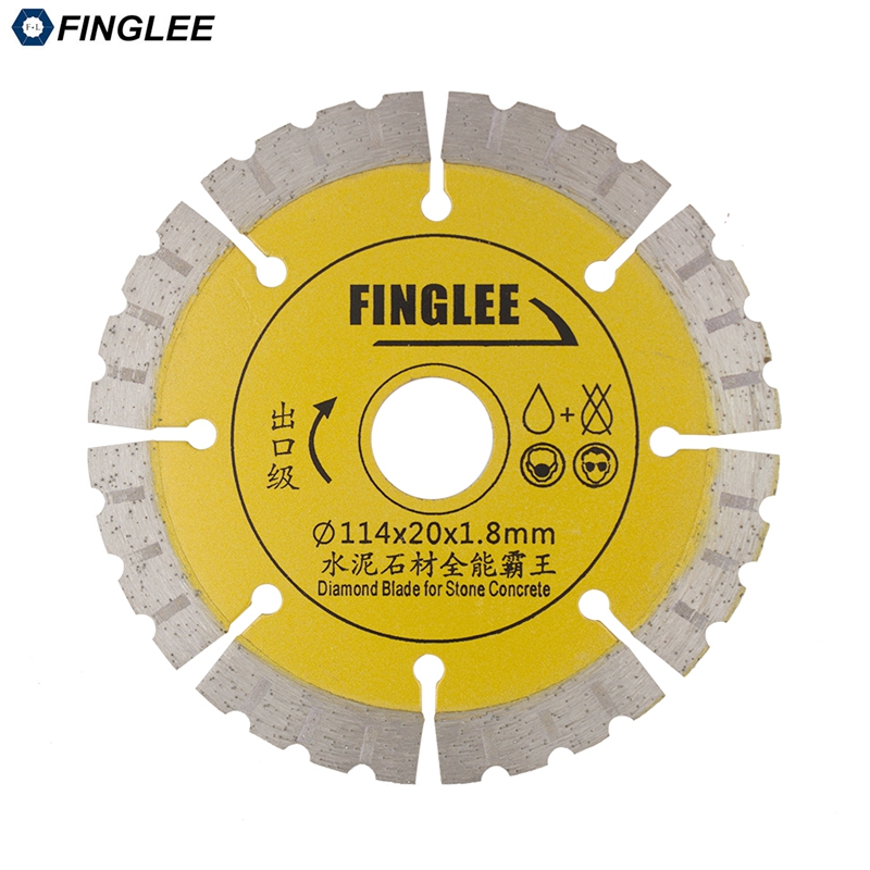 FINGLEE 1Pc 4.5 inch Dry Cutting Disc, Diamond Saw Blade for Concrete,Stone,Marble,Granite,Ceramic Tile,Segment Cutting Blade berrylion diamond saw blade circular saw 114mm cutting disc wet diamond disc for marble concrete stone cutting tools