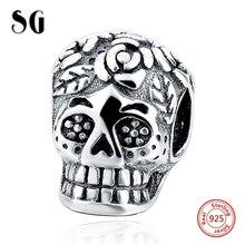 MANBU New 100% 925 Sterling Silver Punk Style Big Hole Oxidized Skull Charms Beads Fit Original Charm Bracelets Jewelry Making
