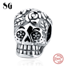 MANBU New 100% 925 Sterling Silver Punk Style Big Hole Oxidized Skull Charms Beads Fit Original Charm Bracelets Jewelry Making