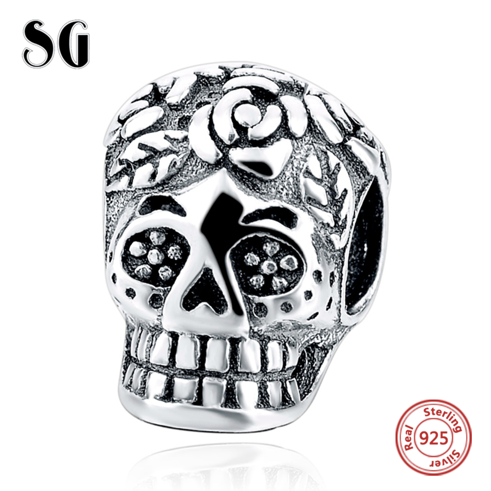 Sterling Silver Skull Charms Beads Fit Authentic Pandora Charms Bracelet Silver 925 Original Jewelry 2017 Berloque For Women
