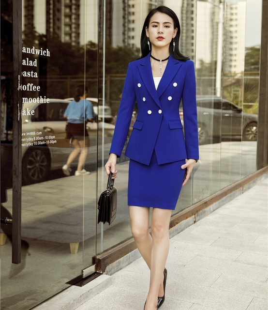d2ca7685f8 Formal Two Piece Sets With Jackets Coat and Skirt For Women Business  Professional Blazers For Ladies Office Work Wear Sets Blue