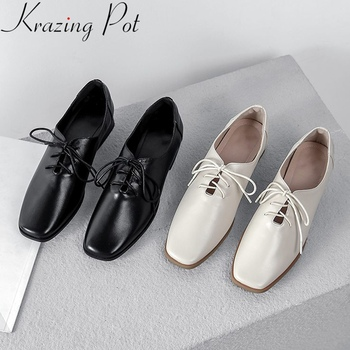 2019 superstar genuine leather square toe mature women pumps med heel lace up concise solid office lady elegant spring shoes L46