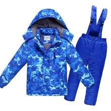 2017 Hiver Enfants Habineige Épais Chaud et Imperméable Coupe-Vent Respirant Garçons Filles Coton Neige Veste Et Salopette Pantalon 2 pcs