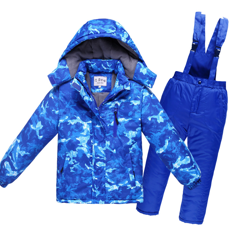 2017 Winter Children Snowsuit Thick Warm Waterproof Windproof Breathable Boys Girls Cotton Snow Jacket And Overalls Pants 2pcs